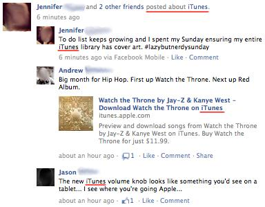 Facebook grouping like topics on iTunes