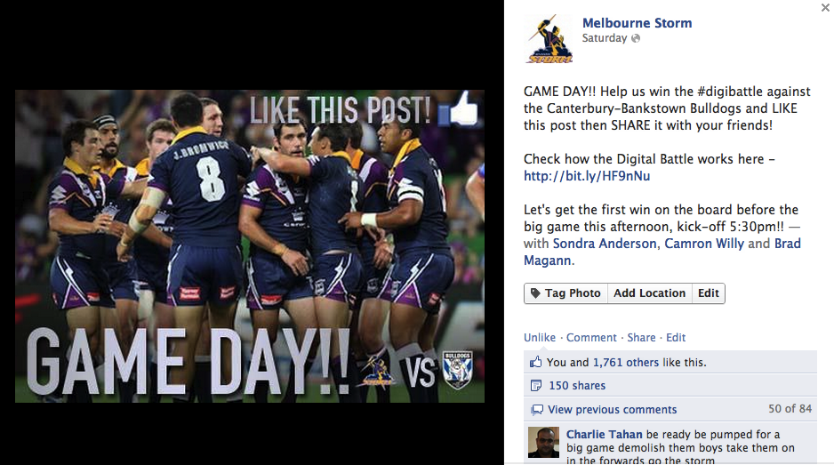 Storm fire up fans on Facebook before the game